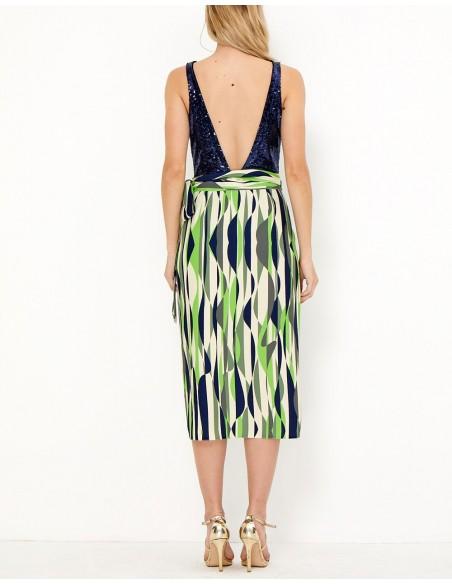 Falda de fiesta estampada con lentejuelas y lazo a la cintura - Raya - Tez Originals