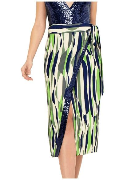 Falda de fiesta estampada con lentejuelas y lazo a la cintura - Raya