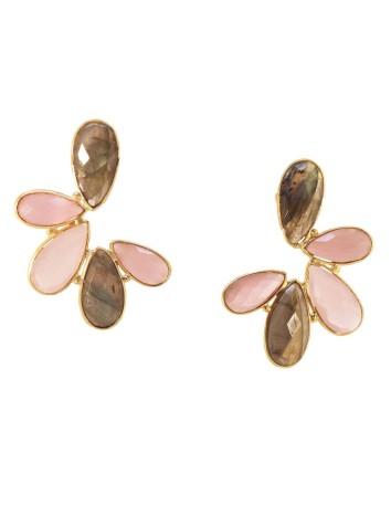 Pendientes en forma de semicirculo con hojas piedras naturales rosas y labradorita de Acus.