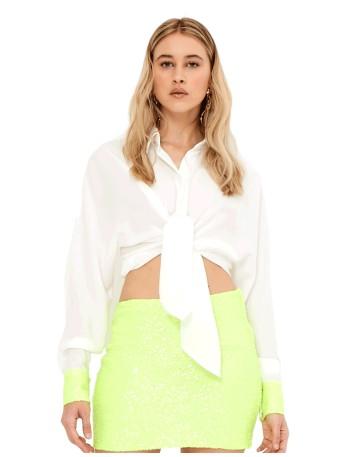 Blusa blanca con puños neon - Renata