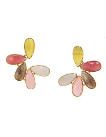 Pendientes en forma de semicirculo con hojas piedras naturales multicolor de Acus.