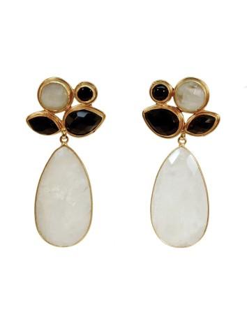 Party Earrings, Black Gems...