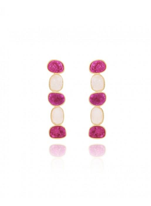 Natural stone long earrings - Allure Fuchsia White