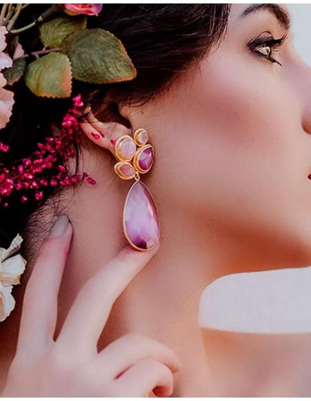Pendientes de fiesta rosas - Paraíso de Acus complementos para invitadas perfectas