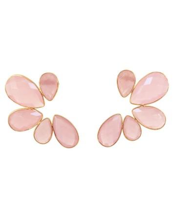 Pendientes de fiesta XL con piedras naturales rosas de Acus en INVITADISIMA.