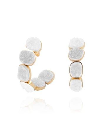 Pendientes aro piedra natural blanca boda invitada lavani