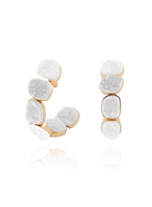 Hoop earrings with natural white quartz stones LAVANI - 1
