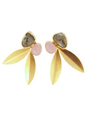 Pendientes de fiesta en forma de hoja con piedras naturales labradorita y rosa palo
