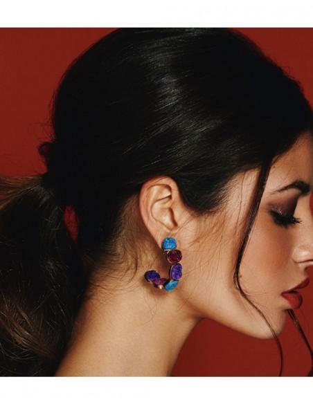 Hoop earrings with multicoloured natural quartz stones LAVANI - 2