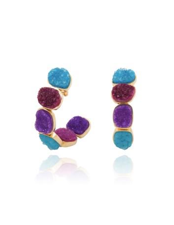pendientes aro piedra natural multicolor invitada lavani