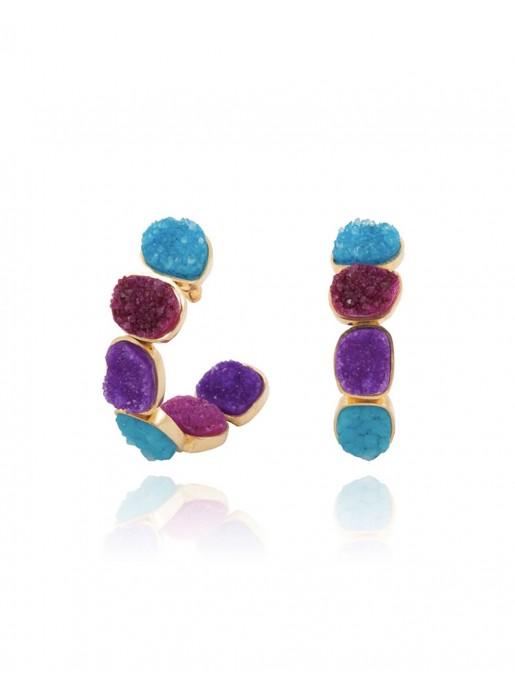 Hoop earrings with multicoloured natural quartz stones LAVANI - 1