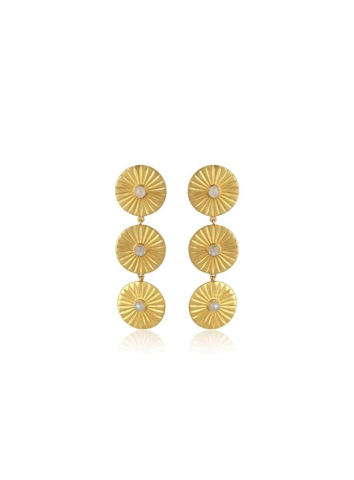 Pendientes largos dorados incrustación piedraluna fiesta lavani