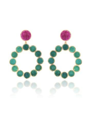 pendientes fucsia verde geométrico piedra natural largos invitada fiesta lavani