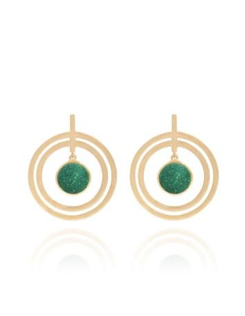pendientes fiesta largos doble aro dorado piedra natural verde lavani invitada boda