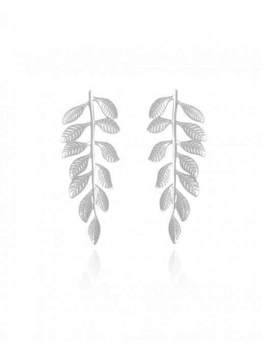 Greek-inspired silver leaf party earrings - Veli Silver