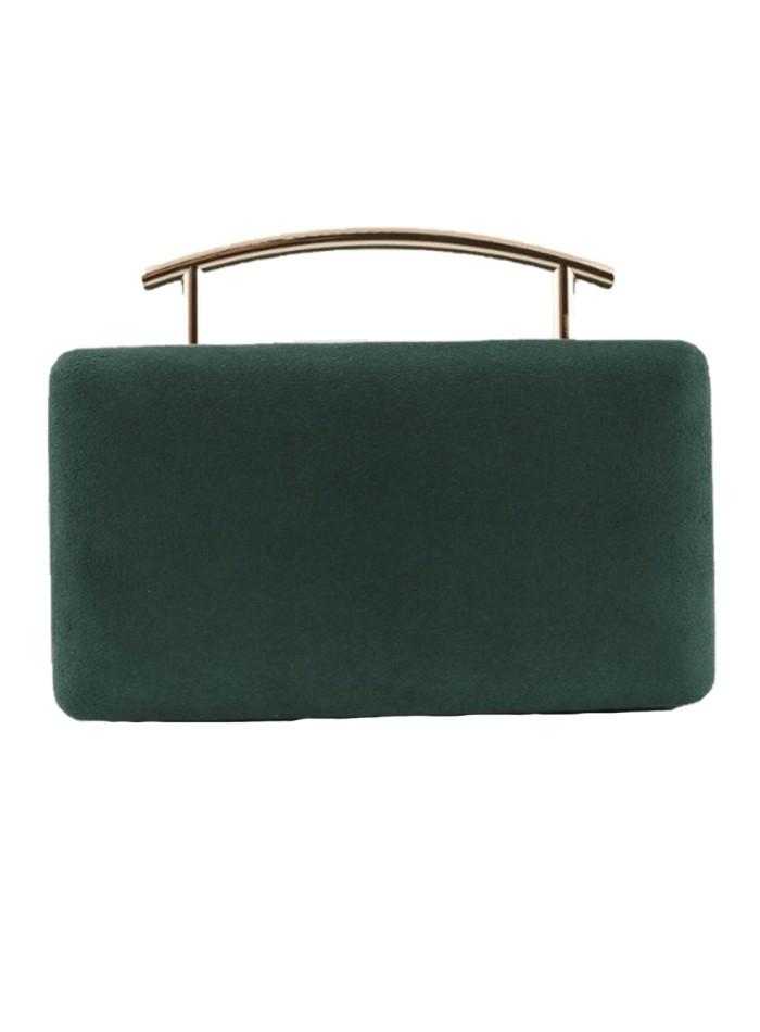 Rectangular party bag, metallic handle, bottle green Lauren Lynn London Accessories - 1