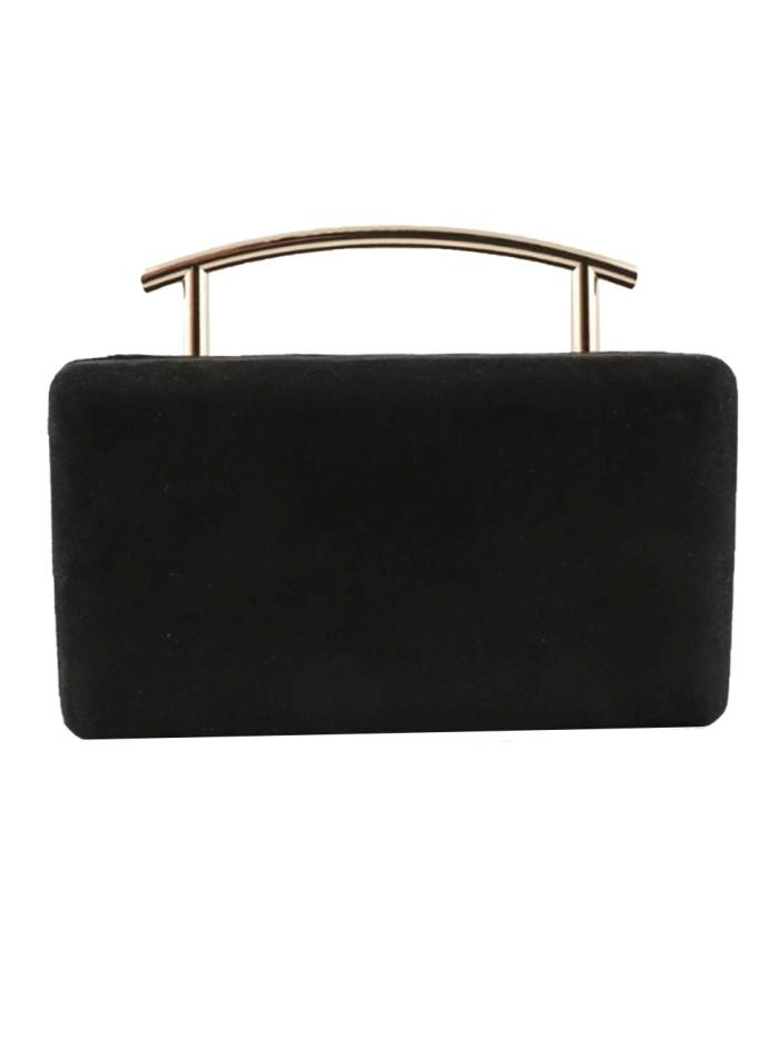 Black rectangular party bag with metallic handle Lauren Lynn London Accessories - 1