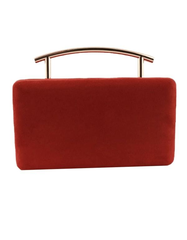 Bolso de fiesta efecto antelina de color rojo de Lauren Lynn London