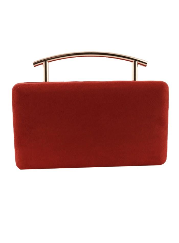 Rectangular party bag with red metallic handle