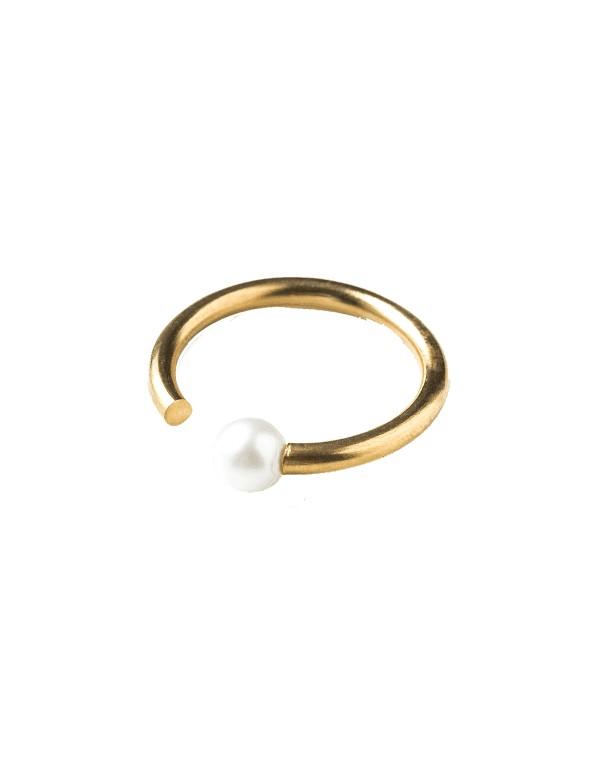 anillo fino perla ajustable dorado boda invitada