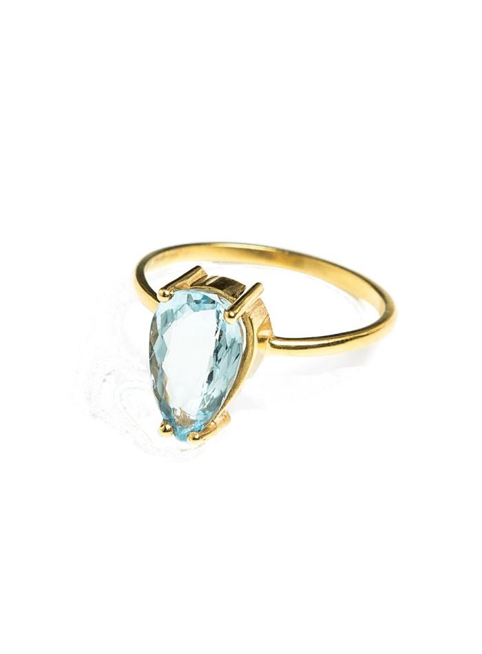 anillo boda gota piedra natural aguamarina dorado invitada