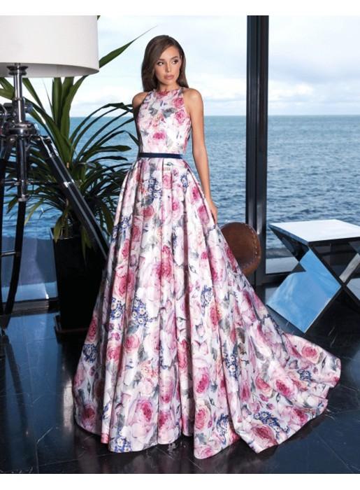 Vestido de fiesta largo con estampado de flores y cuello halter Auguro Sempre - 1