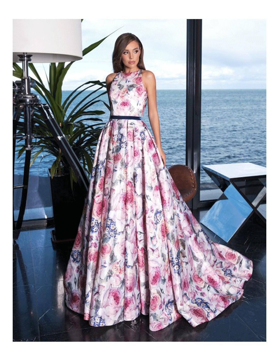 Vestido De Fiesta Largo Estampado Floral Invitadisima Talla Ropa 38