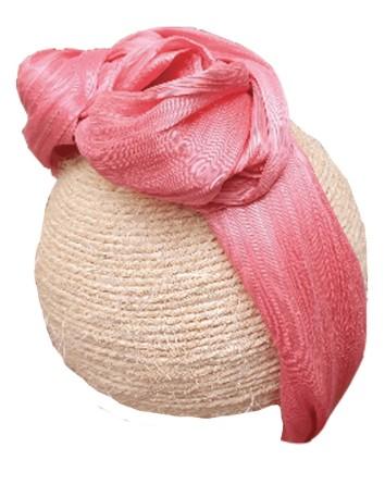 Fuchsia silk headband with knot – Eda INVITADISIMA