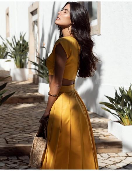 vestido de fiesta amarillo dos piezas para invitada boda evento