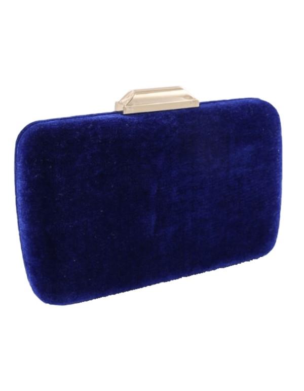 Bolso de fiesta efecto terciopelo de color azul klein invitada perfecta