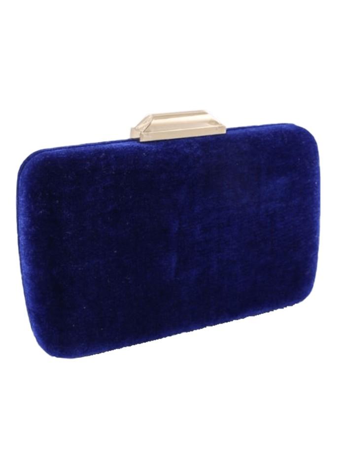 Klein blue velvet rectangular party bag Lauren Lynn London Accessories - 1