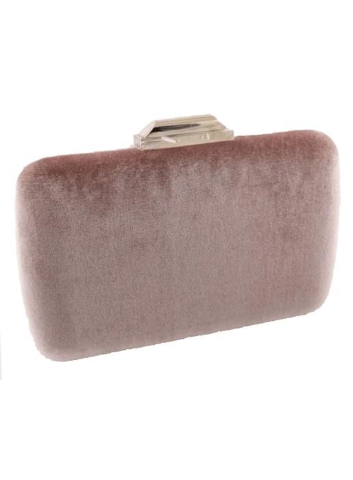 Rectangular pink velvet party bag Lauren Lynn London Accessories - 1