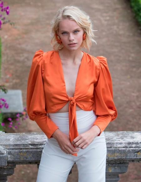 Orange bow front party blouse Mauî Official - 2