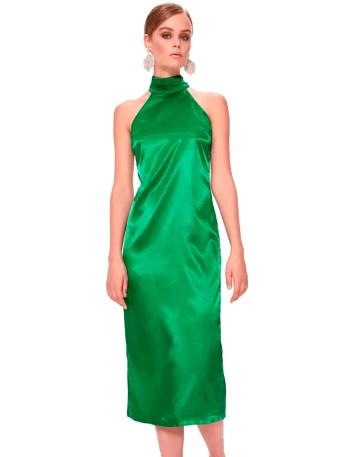 Vestido de cóctel escote halter verde esmeralda satén