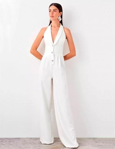 White dress party jumpsuit at INVITADISIMA by Lauren Lynn London