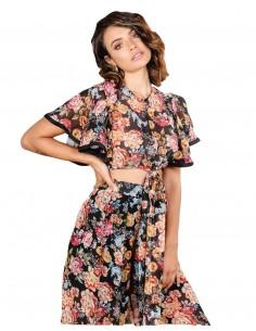 blusa estampado flores manga volante lazada invitada