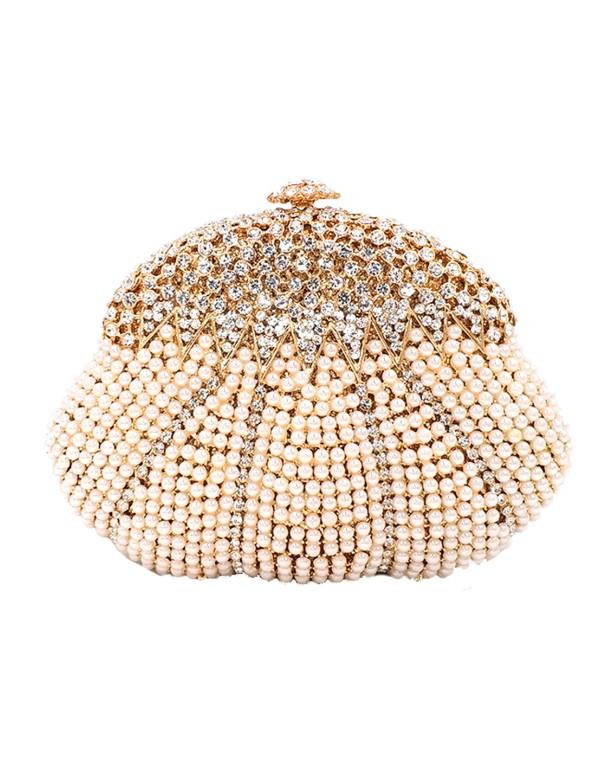 Clutch de fiesta con forma de concha  y cristales de Swarovsk invitada perfecta