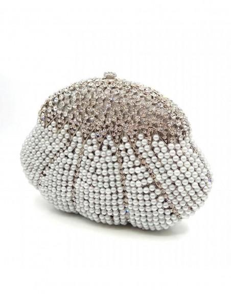 Clutch de fiesta con forma concha y cristales de Swarovski plata