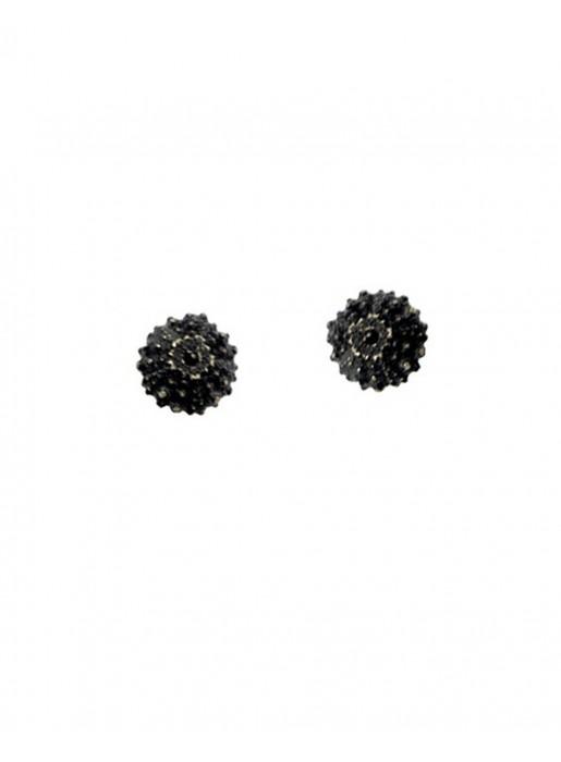 Sterling silver sea urchin earrings  black wedding