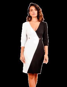 Vestido de cóctel bicolor blanco y negro
