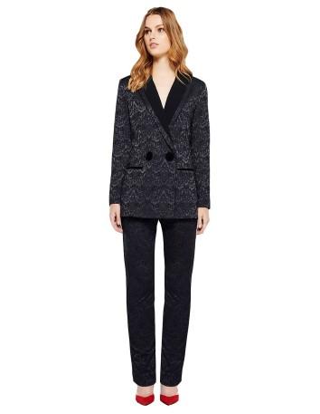 americana chaqueta traje jacquard negro estampado solapas botones