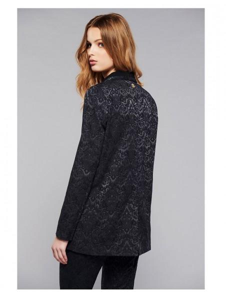 Black double-breasted jacket jacquard print model