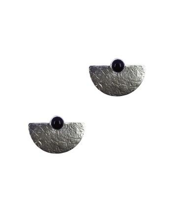 pendientes plata ley onix negro piedra natural geometrico