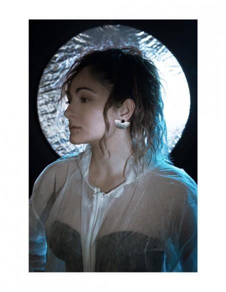 Geometric sterling silver earrings moon stone model