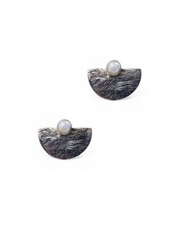 Pendientes geométricos plata ley piedra luna blanca