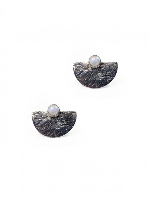 Geometric sterling silver earrings moon stone