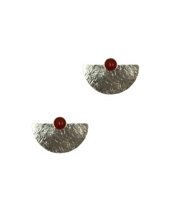 pendientes geometricos plata ley ónix rojo