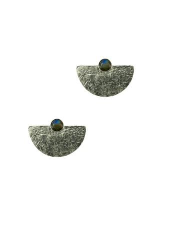 pendientes geometricos plata ley piedra natural iridiscente