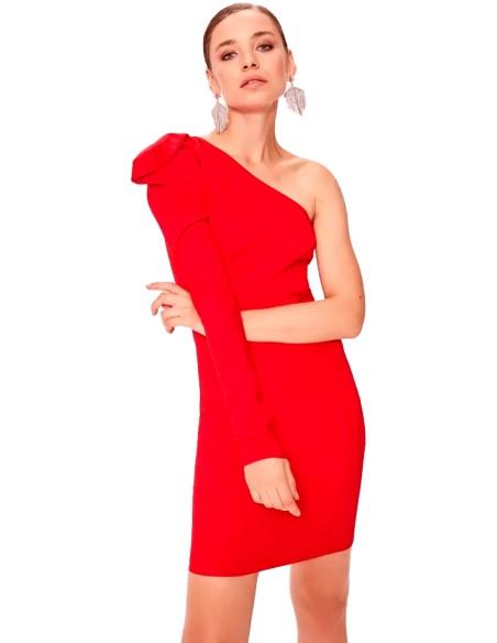 Vestido de fiesta corto con escote asimétrico y una manga - rojo