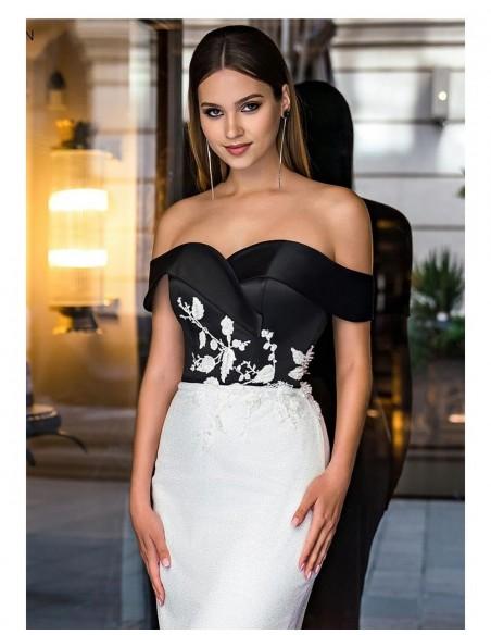 vestido largo gala fiesta escote espalda bardot flores recto detalle